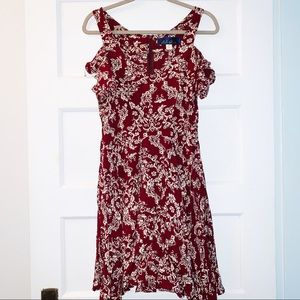 Blue Rain Dress- Maroon and Cream Pattern